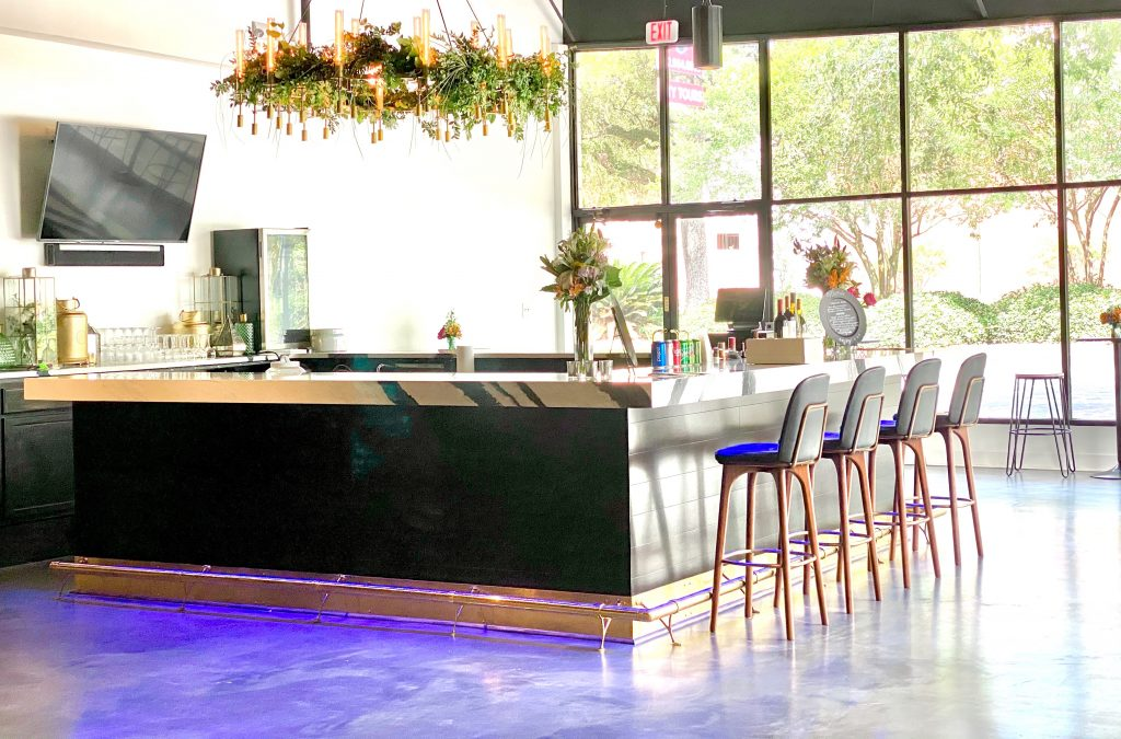 bar with chandelier decoration